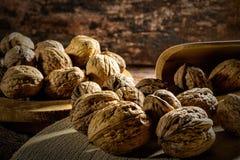 Грецкие орехи на деревянной доске Стоковое фото RF