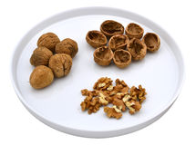 Грецкие орехи на плите Стоковая Фотография
