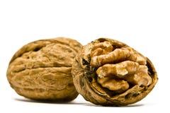 грецкие орехи предпосылки белые Стоковое Фото