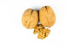 грецкие орехи предпосылки белые Стоковое фото RF