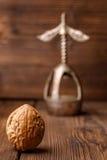 Грецкий орех в раковине на деревянной предпосылке вместе с старым Щелкунчиком Грецкий орех и красивый винтажный Щелкунчик Стоковое Изображение