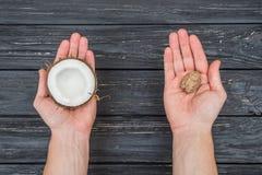 Грецкий орех и кокос в женских руках Стоковые Изображения RF