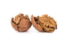 Грецкий орех и треснутый грецкий орех изолированный на белой предпосылке Стоковые Фотографии RF