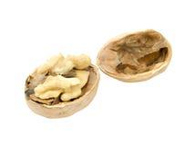 Грецкий орех и треснутый изолированный грецкий орех Стоковое фото RF