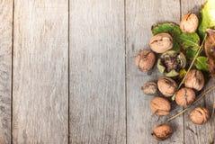 Грецкий орех на деревянной предпосылке с листьями Стоковая Фотография