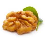 Грецкий орех при изолированные лист Стоковые Изображения