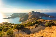 Греческая береговая линия на Пелопоннесе, полуострове Mani стоковое фото rf