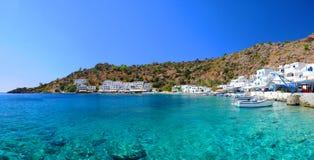 Греческая деревня Loutro, Крита Стоковое Фото