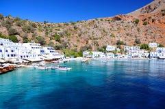 Греческая деревня Loutro, Крита Стоковое Изображение