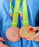 Греческая звезда стрельбы Анна Korakaki - Олимпиады Рио Стоковая Фотография RF