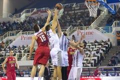 Греческая игра Paok лиги корзины против Olympiakos Стоковое фото RF