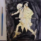 Греческая картина акварели Стоковые Изображения