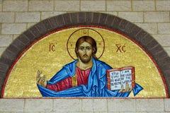Греческая правоверная мозаика свода иконы стоковые изображения