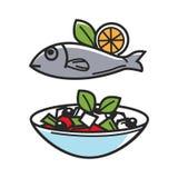 Греческая традиционная еда для значков вектора культуры назначения перемещения Греции известных туристских Стоковое Изображение