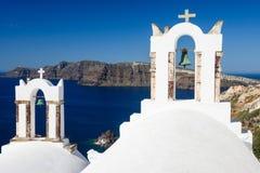 Греческие башни церковного колокола Стоковые Фотографии RF