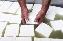 Греческие белые кубы сыра фета Стоковое Изображение