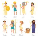 Греческие боги плоско иллюстрация вектора