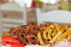 Греческие гироскопы, souvlaki, мясо Стоковое Фото
