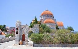 греческие острова Kalymnos Монастырь Savvas ажио Самое лучшее туристское назначение в Эгейском море стоковая фотография