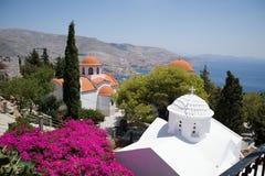 греческие острова Kalymnos Монастырь Savvas ажио Самое лучшее туристское назначение в Эгейском море стоковое изображение rf