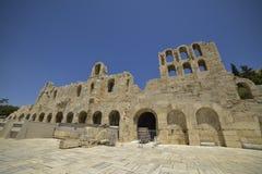 Греческие руины старой агоры на акрополе в Афинах, Греции Стоковое Фото