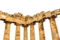 Греческие столбцы, остатки загубленного виска с течением времени Стоковое фото RF