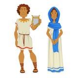 Греческие человек и женщина в национальной одежде с музыкальным инструментом арфы иллюстрация штока