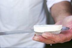 Греческий белый нож сыра фета Стоковое Изображение RF