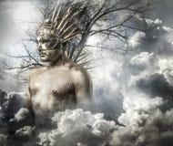 Греческий бог олимпийца, божество, концепция, человек с золотой маской Стоковые Изображения