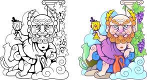 Греческий бог Dionysus, смешная иллюстрация, книжка-раскраска иллюстрация вектора