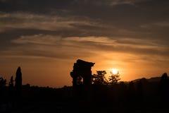 Греческий висок рицинуса и Поллукса во время захода солнца в Агридженте, Сицилии Стоковые Изображения RF