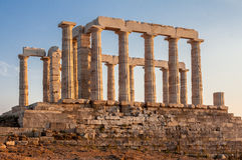 Греческий висок Poseidon Sounio Стоковое Изображение