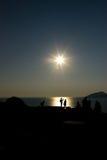 греческий заход солнца Стоковое Фото