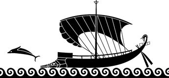Греческий корабль иллюстрация штока
