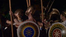 Греческий македонский конец образования фаланстера вверх сток-видео