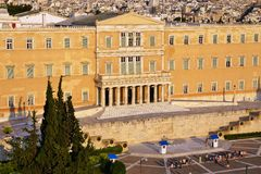 Греческий парламент на синтагме придает квадратную форму в Афинах Стоковое Изображение