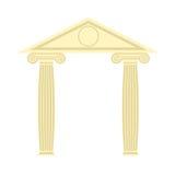 Греческий портик греческий висок 2 столбец и крыша Illustr вектора Стоковое Фото