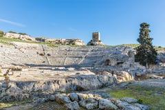 Греческий театр Сиракузы Сицилии стоковое фото