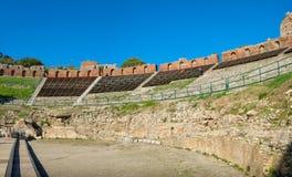 греческий театр taormina Италии Сицилии стоковая фотография rf