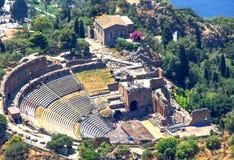 греческий театр taormina стоковые фотографии rf