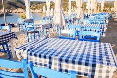 Греческое taverna на пляже Стоковое Изображение