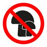 Грибы знака запрета в круге пересеченном красным цветом вне на белой предпосылке бесплатная иллюстрация