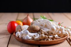 Грибы и овощи для здоровый варить Стоковая Фотография