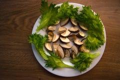 Грибы и салат Стоковая Фотография