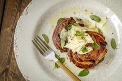 Грибы Portobello покрытые с pancetta Стоковые Изображения