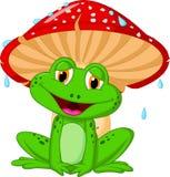 Гриб шаржа с жабой иллюстрация вектора