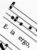 Григорианский счет песнопения Salve Регина, крупный план стоковая фотография rf