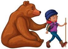 Гризли и hiker с рюкзаком бесплатная иллюстрация