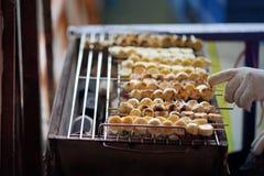 Гриль банана, тайский десерт стоковое фото