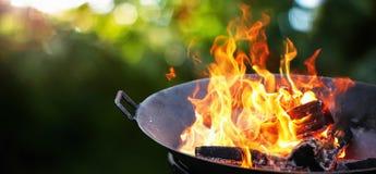 Гриль барбекю Пламя огня стоковая фотография